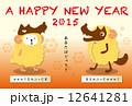 羊オオカミ年賀状赤 12641281