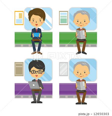 電車 男性 列車 通勤 ビジネスマン 12650303