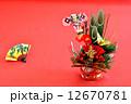 年賀状素材 正月飾り お正月イメージの写真 12670781