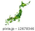 緑の葉っぱの日本地図 12678346