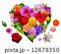 花たちと葉っぱのハート 12678350