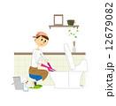 トイレ掃除 ベクター 女性のイラスト 12679082
