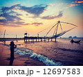 Chinese fishnets on sunset. Kochi, Kerala, India 12697583