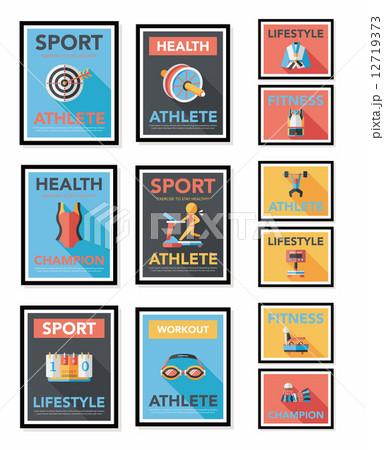 Sport poster flat banner design flat background set, eps10 12719373