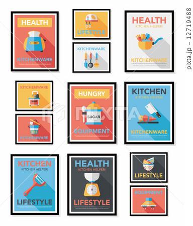 Kitchenware poster flat banner design flat background set, eps10 12719488