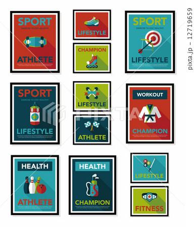 Sport poster flat banner design flat background set, eps10 12719659