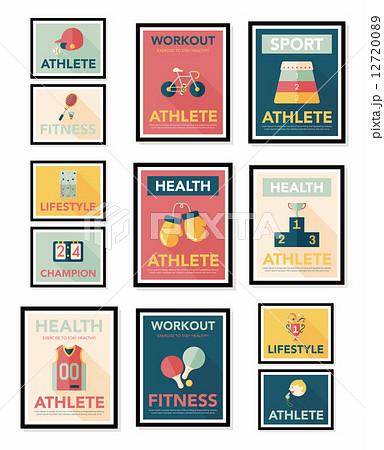 Sport poster flat banner design flat background set, eps10 12720089
