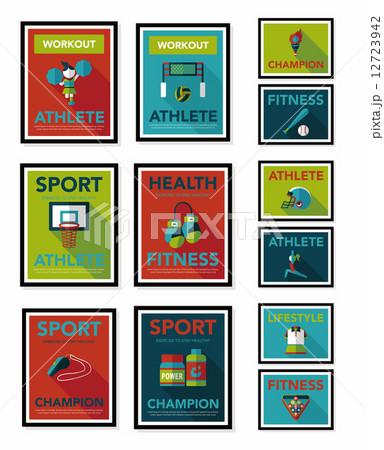 Sport poster flat banner design flat background set, eps10 12723942