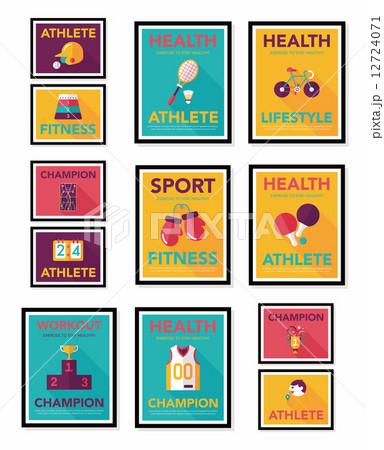 Sport poster flat banner design flat background set, eps10 12724071