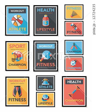 Sport poster flat banner design flat background set, eps10 12724235