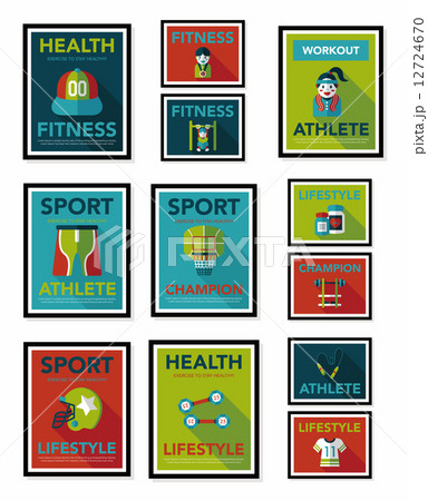 Sport poster flat banner design flat background set, eps10 12724670