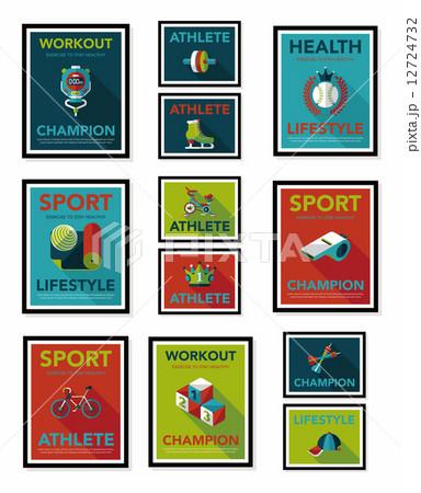 Sport poster flat banner design flat background set, eps10 12724732