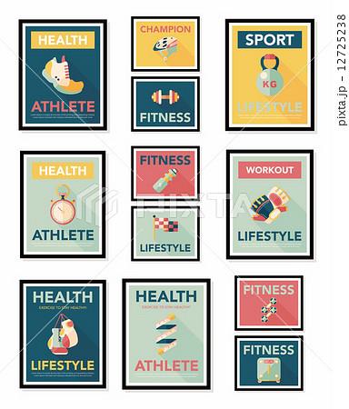 Sport poster flat banner design flat background set, eps10 12725238