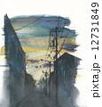 夕焼け 路地 夕暮れのイラスト 12731849