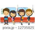 電車内 乗客 ベクターのイラスト 12735025