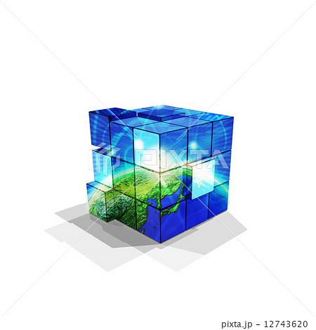宇宙と地球のルービックキューブのイラスト素材 12743620 Pixta