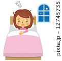 寝不足 女性 不眠症 睡眠不足【二頭身・シリーズ】 12745735