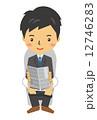 ビジネスマン トイレ 新聞紙 12746283