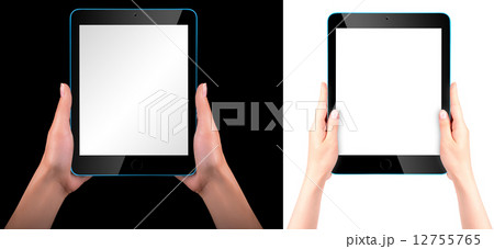 Touch screen tablet computer with handの写真素材 [12755765] - PIXTA