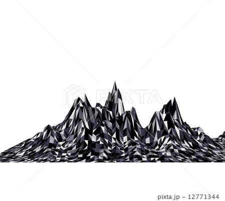 白黒のポリゴンで出来た山脈のイメージのイラスト素材 12771344 Pixta