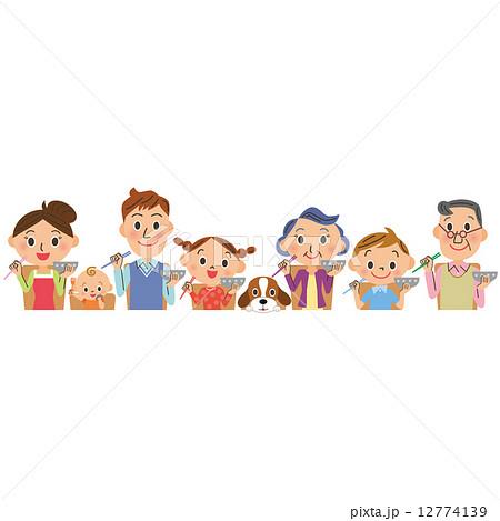 家族が食事をするシーン 12774139