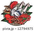 海の幸 シーフード 魚介類のイラスト 12794975