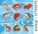 海の幸 シーフード 魚介類のイラスト 12794976