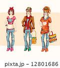 ヒップスター 女の子 セットのイラスト 12801686