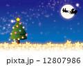 背景素材壁紙(クリスマス・サンタとトナカイのソリ) 12807986
