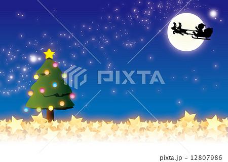 背景素材壁紙クリスマスサンタとトナカイのソリのイラスト素材