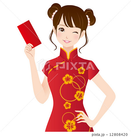 チャイナドレスを着た女性 春節のイラスト素材 12808420 Pixta