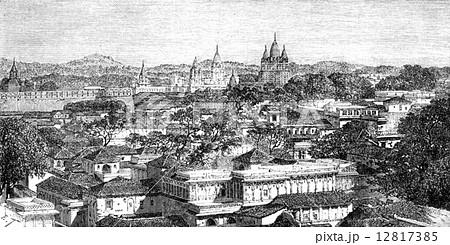 Overview of Duttiah, vintage engraving. 12817385