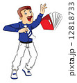 Vector of shocked businessman trying to hold a falling file. 12818733