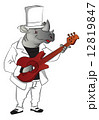 Vector of rhinoceros playing guitar. 12819847