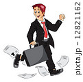 Vector of successful businessman holding briefcase and cheering. 12821162