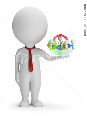 3d small people - manager and his team 12827060