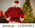 Rear view of santa standing in front of the christmas tree 12844461