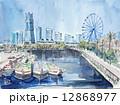 ランドマークタワー 横浜 港のスケッチ 12868977