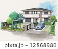 住宅のスケッチ 住まいのイラスト 12868980