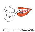 手書き風の女性の口と吹き出しメッセージ Good bye! 12882850