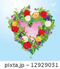 Heart shape is made of beautiful flowers - roses, pansies, bellf 12929031