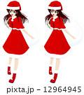 サンタコスチュームの女の子(縁ありと縁なし2カット) 12964945