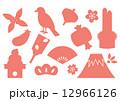 縁起物の年賀状素材(桃色単色シルエット) 12966126