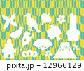 縁起物の年賀状素材(矢絣 黄色・水色) 12966129