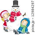 Kids Posing Beside a Snowman 12984297