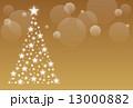 クリスマスツリー テンプレート ゴールドのイラスト 13000882