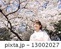 満開の桜と和服女性 13002027