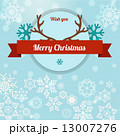 merry christmas reindeer horn and ribbon illustration 13007276