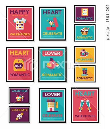 Valentine***s Day poster flat banner design flat background set, 13014206