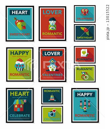 Valentine***s Day poster flat banner design flat background set, 13015522